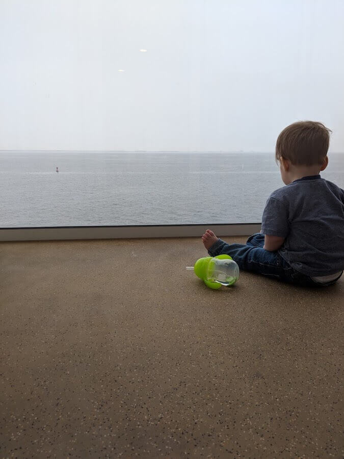 our son on our cruise ship balcony