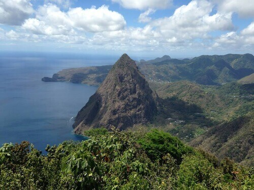 view of Saint Lucia from the pitons