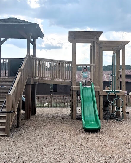 look for playgrounds to stop at when road tripping with young kids