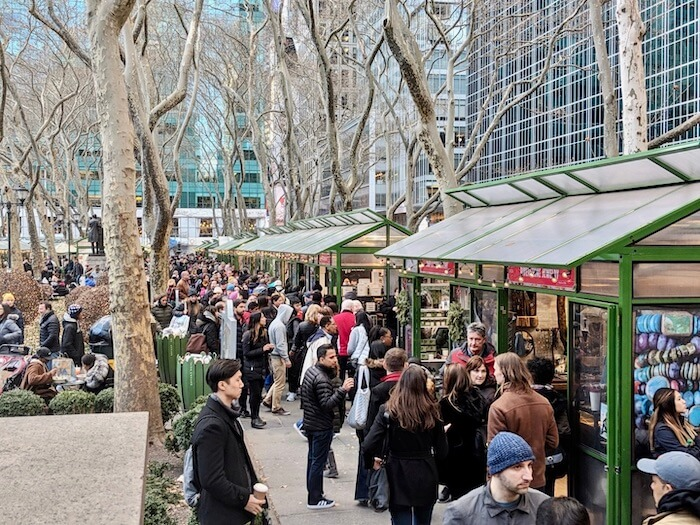 the New York City Christmas market at bryant park features artisan and handmade goods