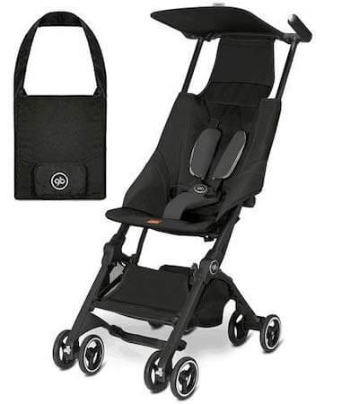 the GB pockit is the lightest travel stroller on the market, fitting in a small bag that can stow underneath an airplane seat