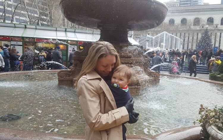 wearing the Moby wrap with my baby at Bryant Park in New York City