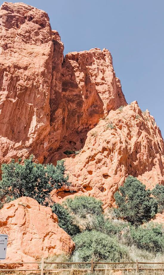 enjoy the towering rock formations in Garden of the Gods from the paved trail